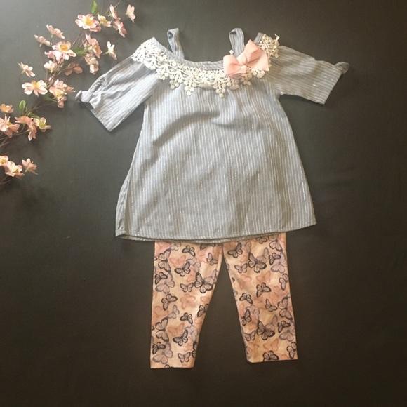 Little Lass Butterfly Capri 2 Piece Outfit Size 4T